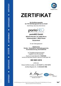 pantoNEO GmbH - ISO 9001:2015